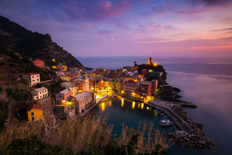 Cinque Terre in Italy by night - one of the best destinations to visit in the Med