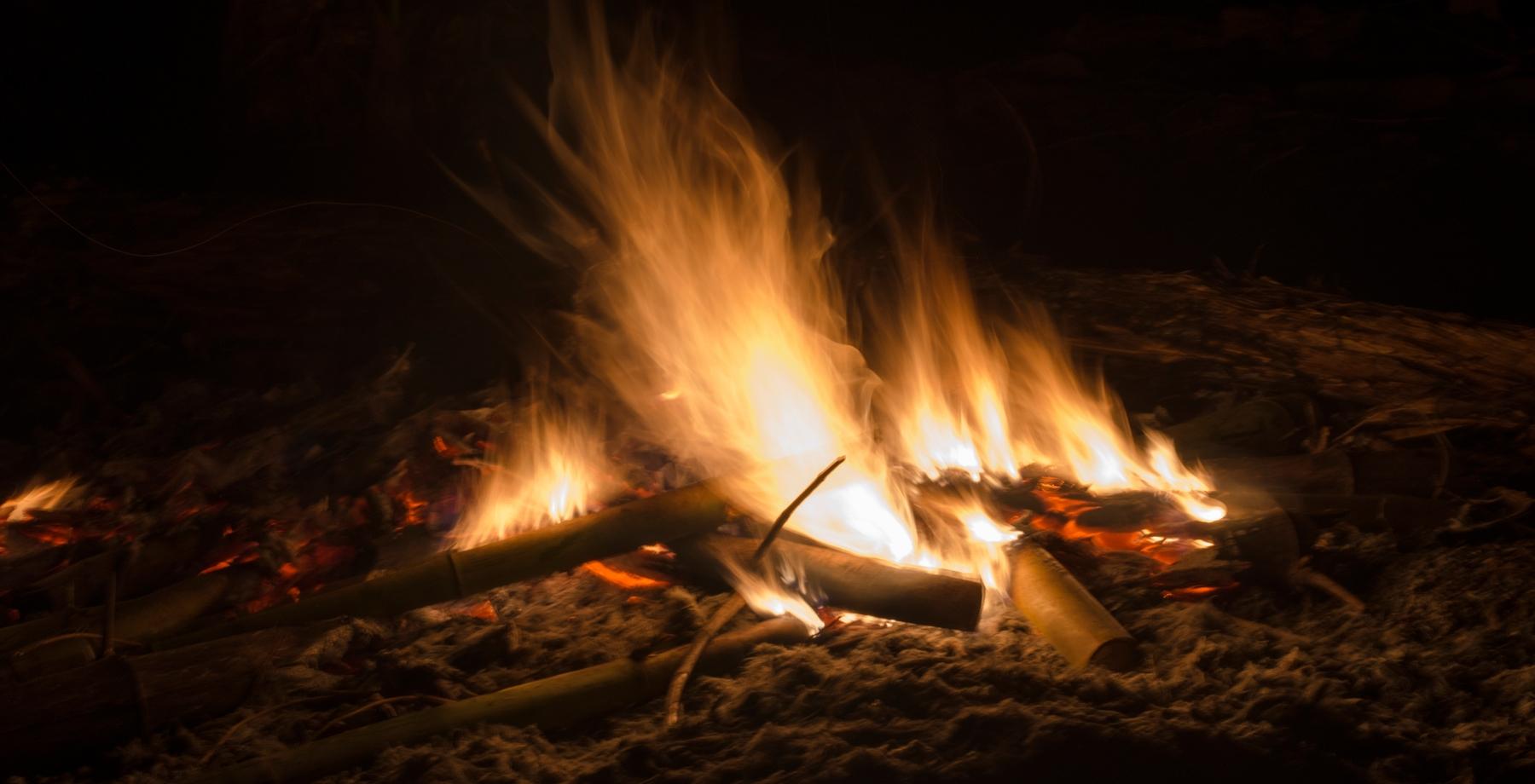 bonfire on the beach in texas