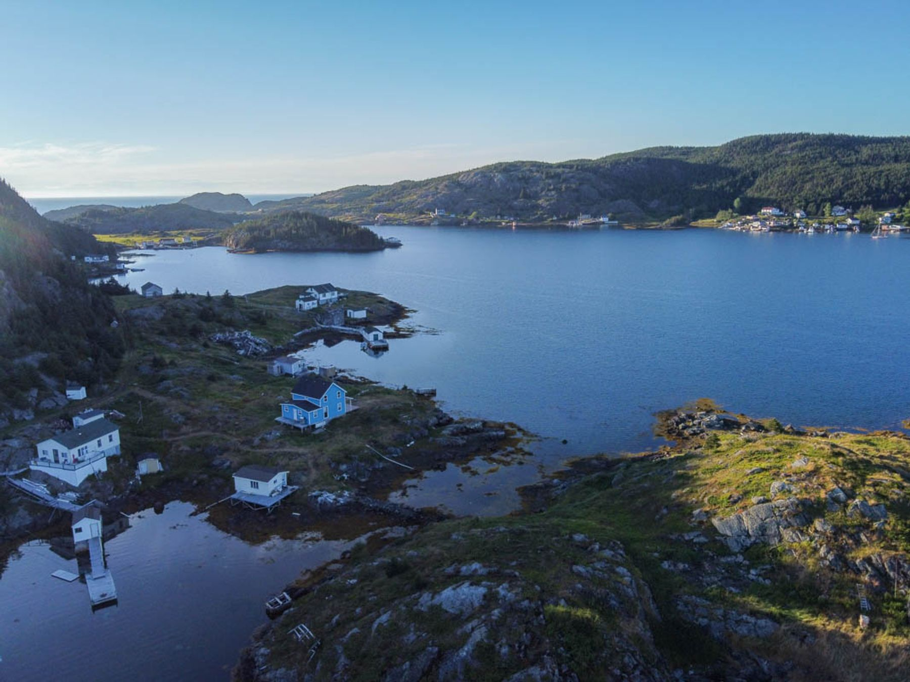 afternoon bird's eye view of the Bay of Exploits in central Newfoundland