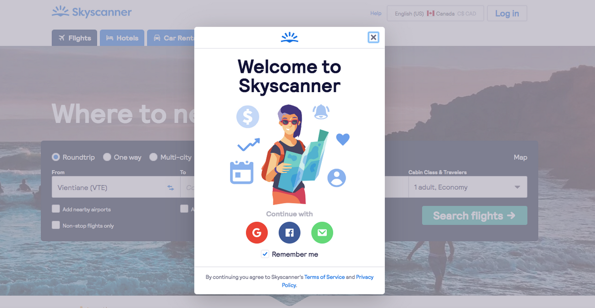 Screenshot of the Welcome to Skyscanner pop-up page to create a new account through google, facebook or personal email