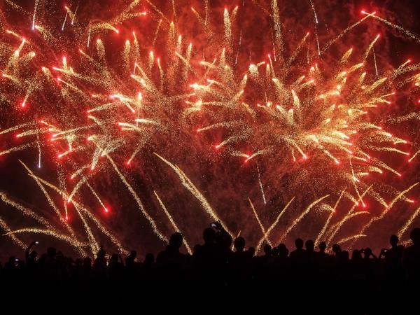 fireworks at an outdoor concert