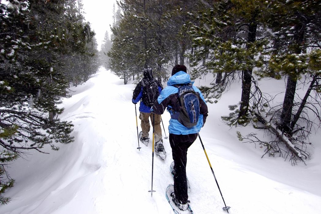 Δύο ταξιδιώτες με σκι πεζοπορούν στο χιόνι