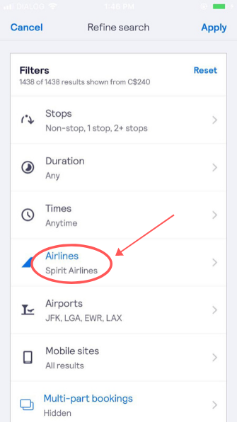 screenshot demonstrating how to filter for Spirit Airlines flights on the app