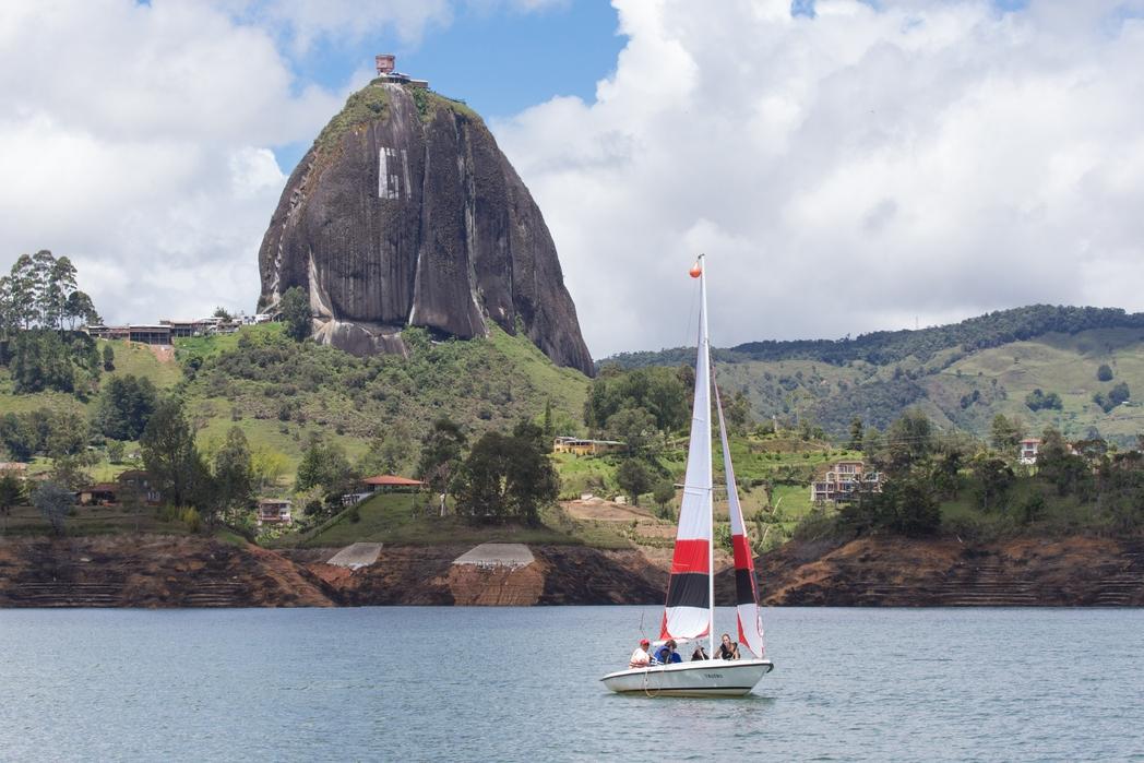 Piedra del Penol view from lake at Guatape, near Medellin, Colombia