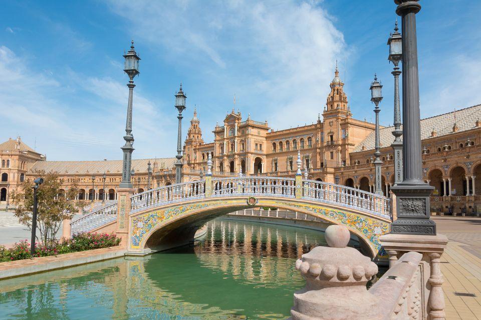 A quiet Plaza de Espana in Seville, Spain