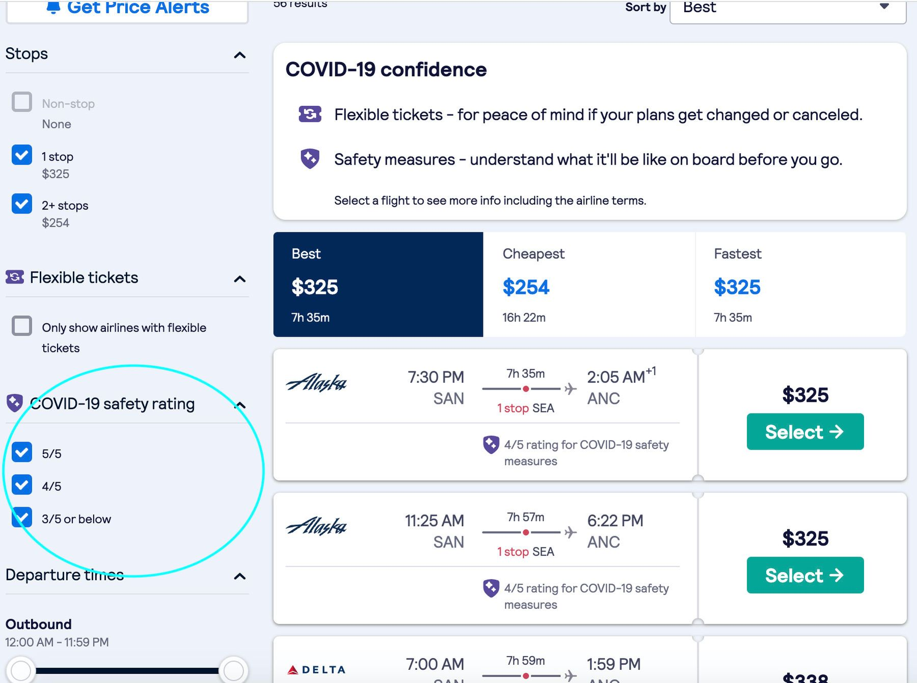 Cathay Pacific flight deals on Skyscanner's website. Keep an eye out for the COVID-19 airline safety rating.