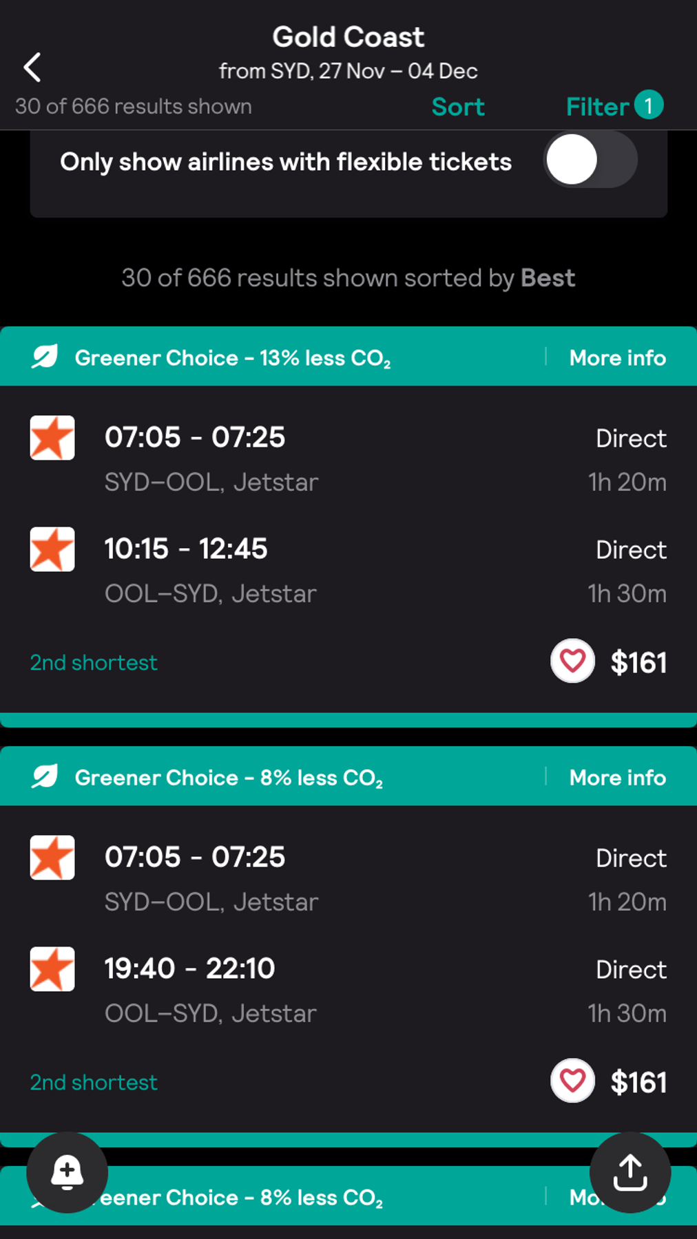 Skyscanner app screenshot for finding Jetstar Black Friday deals