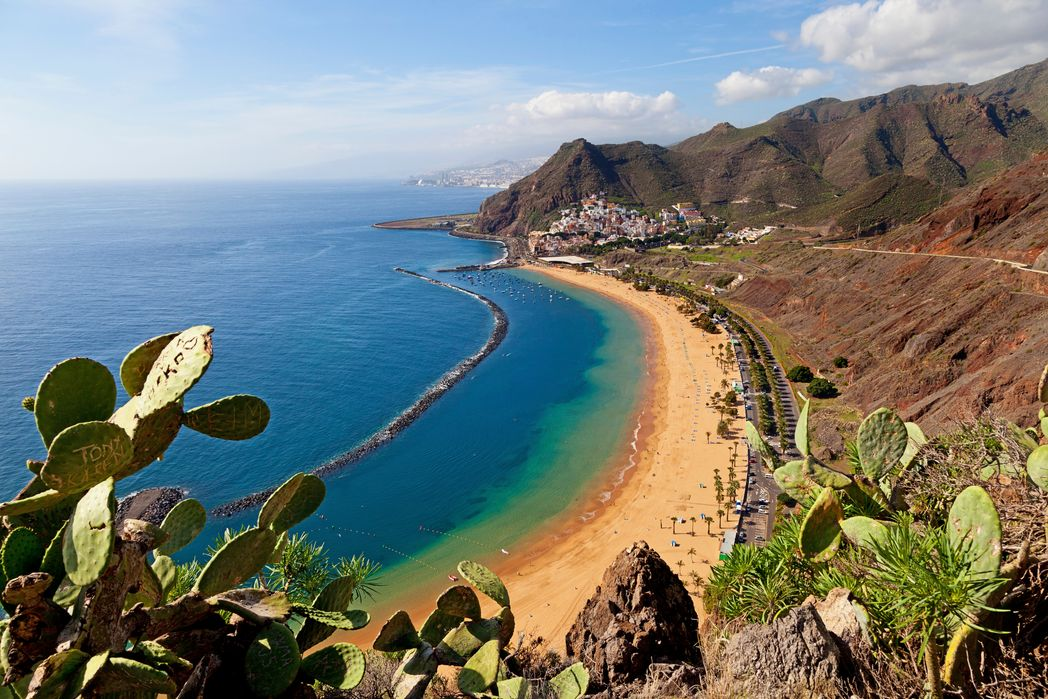 Beach surrounded by mountains in Tenerife, Canary Islands, Spain