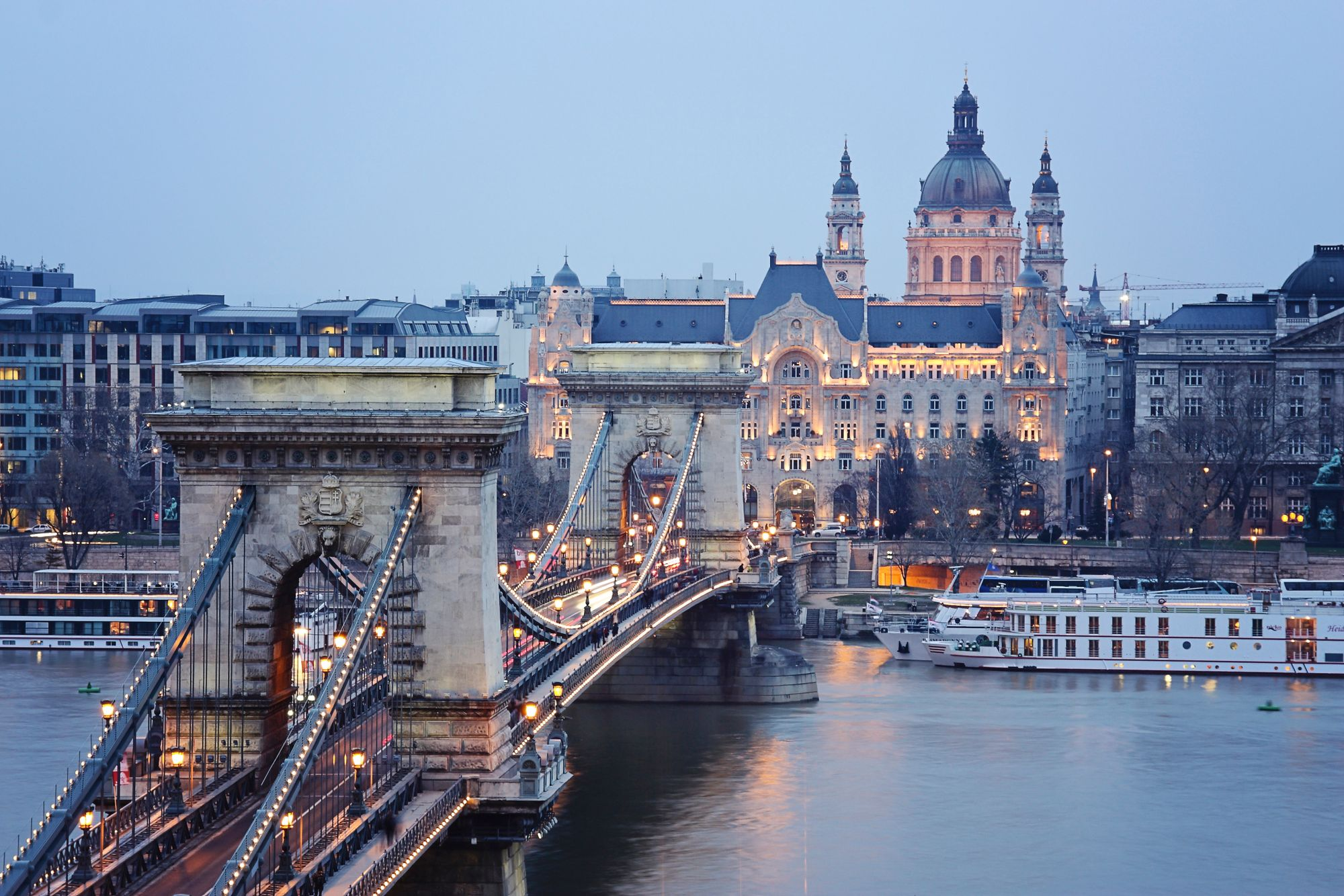 view of the Chain Bridge from the Buda side in Budapest