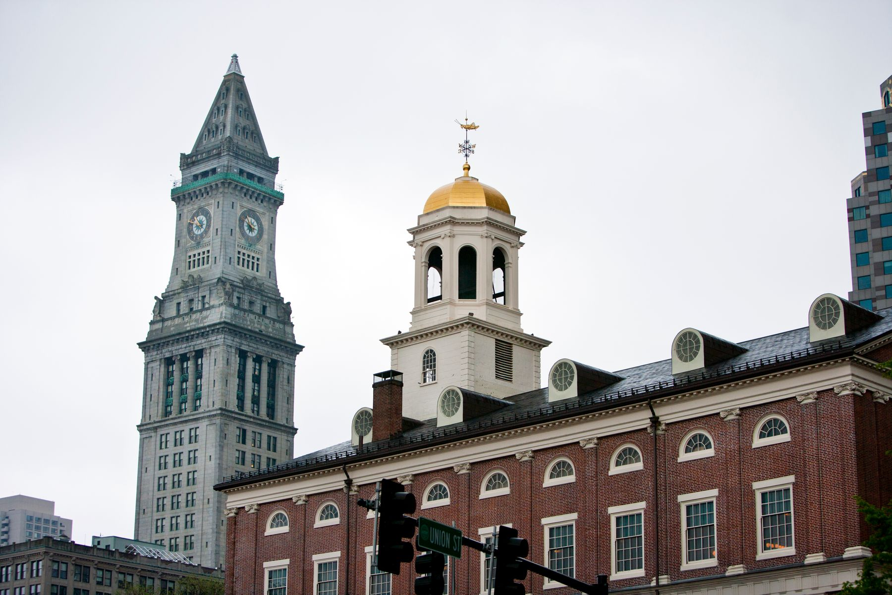 close up of two buildings in downtown Boston