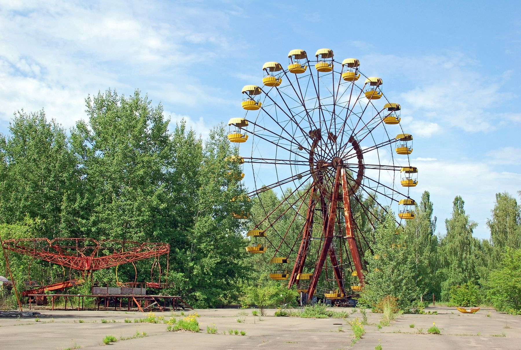 Abandoned amusement park outside the city