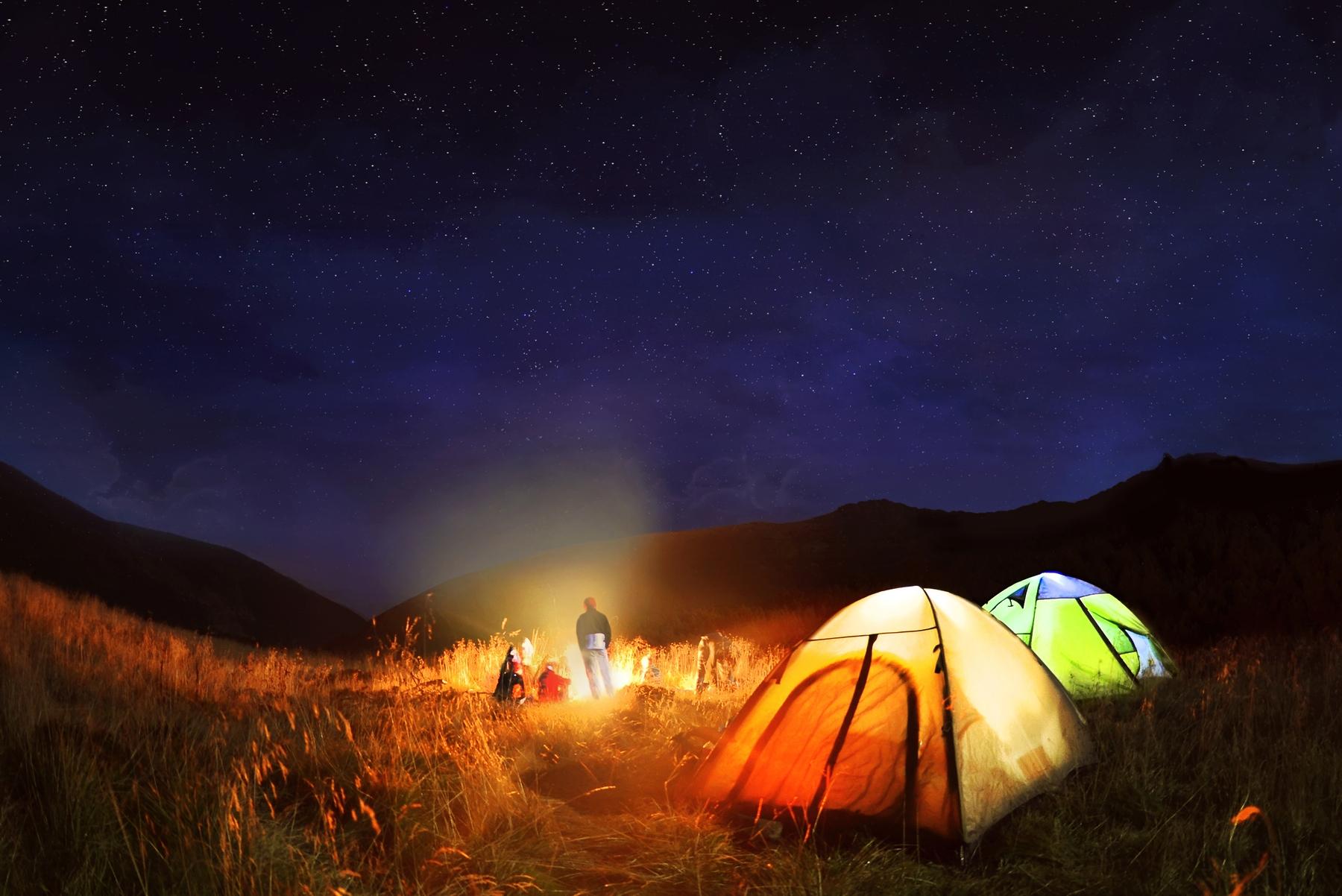night camping and stargazing