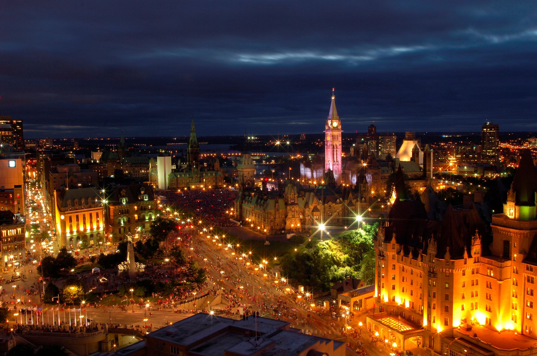 aerial view of Ottawa at night during Canada Day