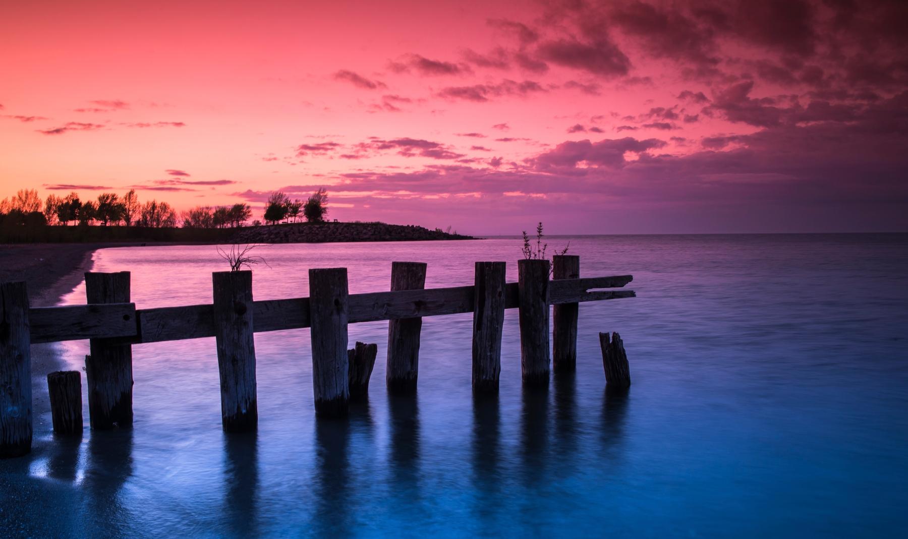 Lake Ontario at sunset in Hamilton