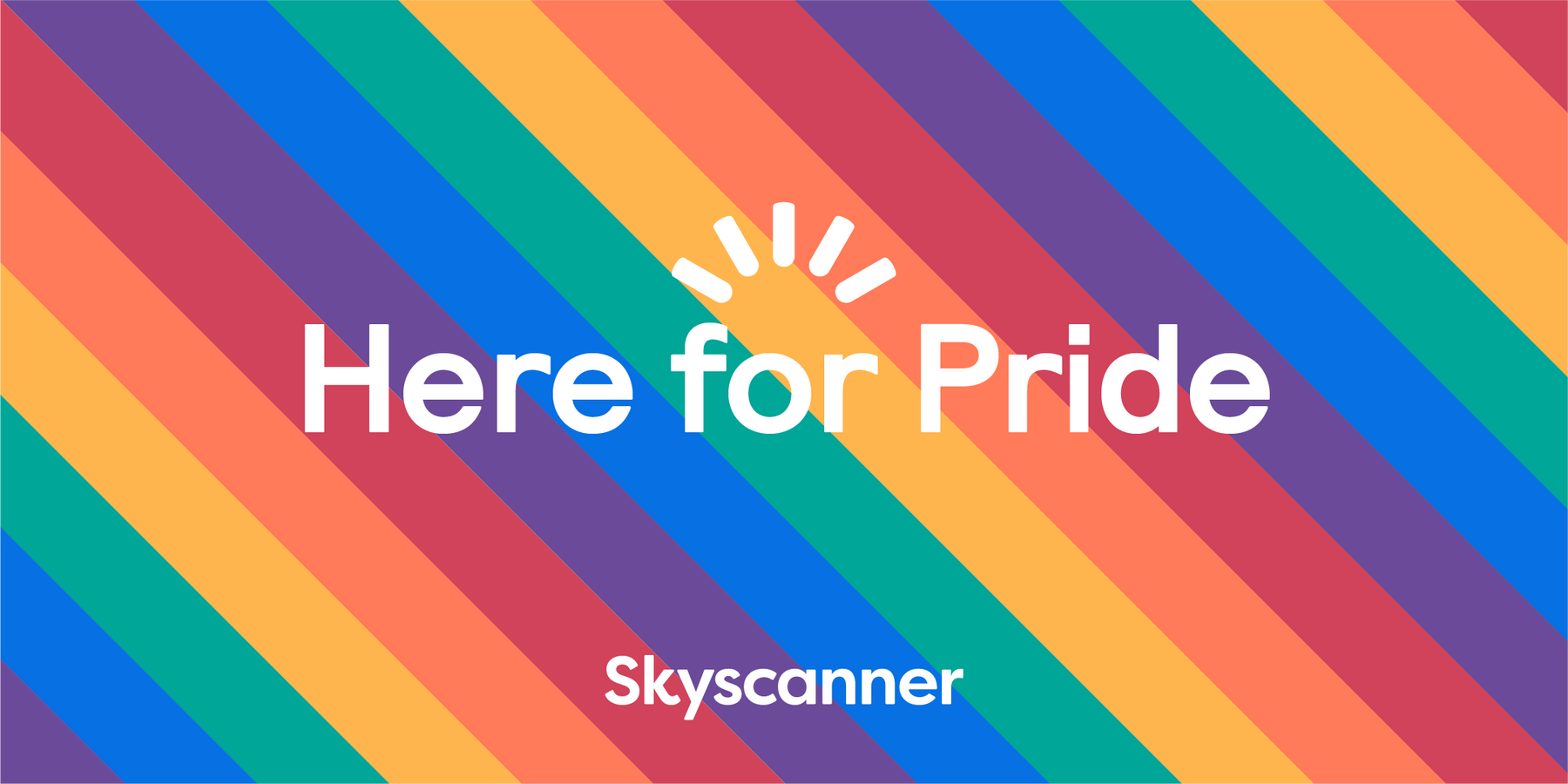 """Skyscanner """"Here for Pride"""" graphic"""