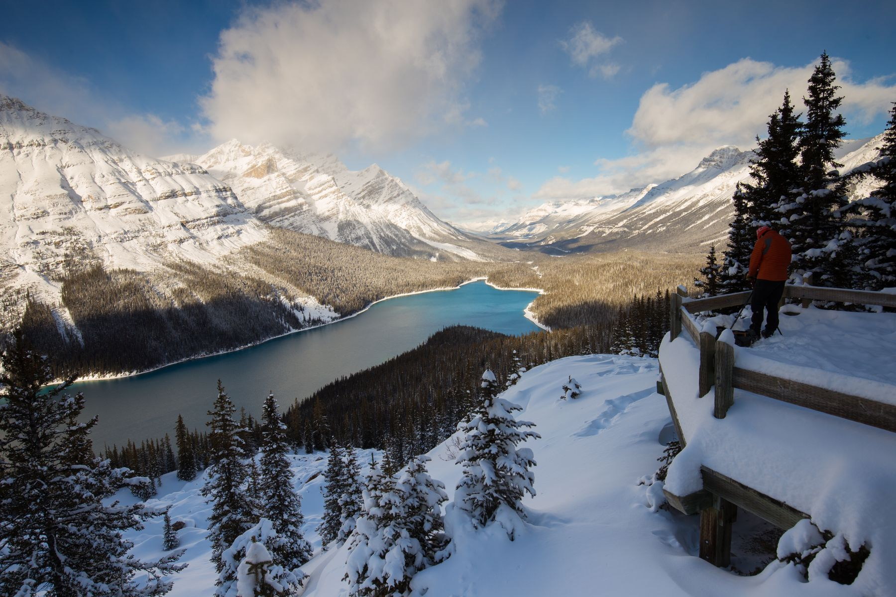view of a lake along the Icefields Parkway, a major tourist attraction of Banff and Jasper in the Canadian Rockies