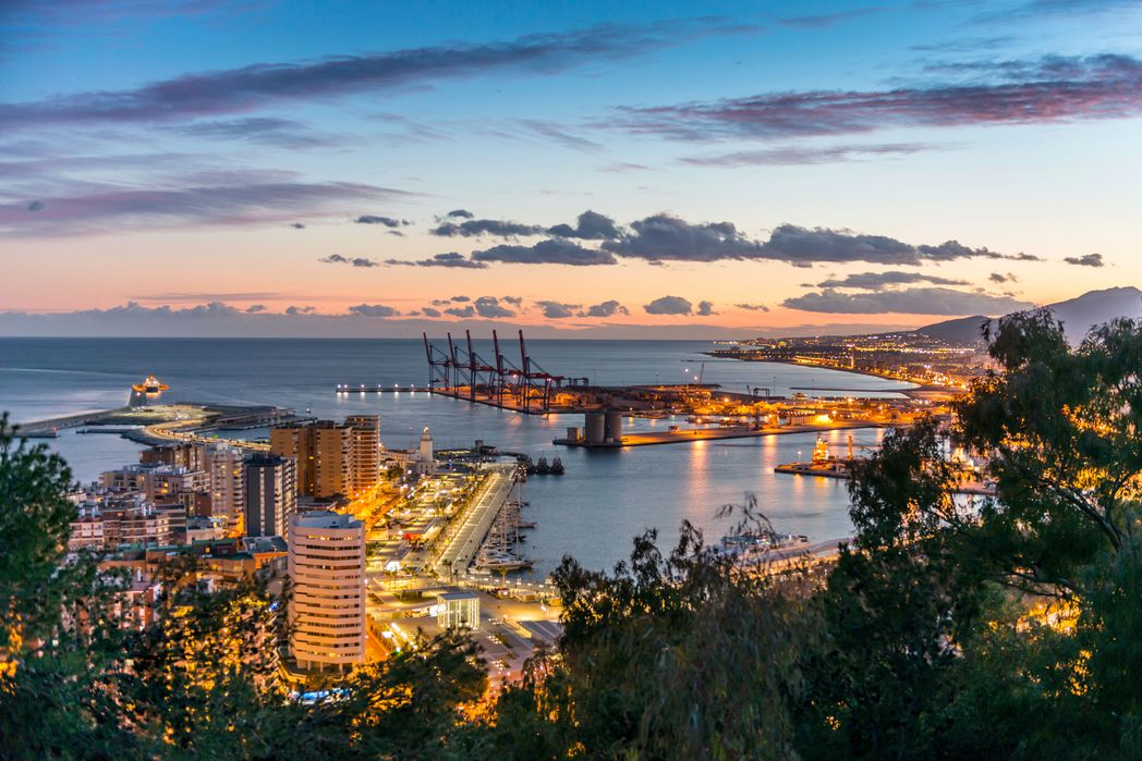 Malaga port at dusk - what to do in Malaga