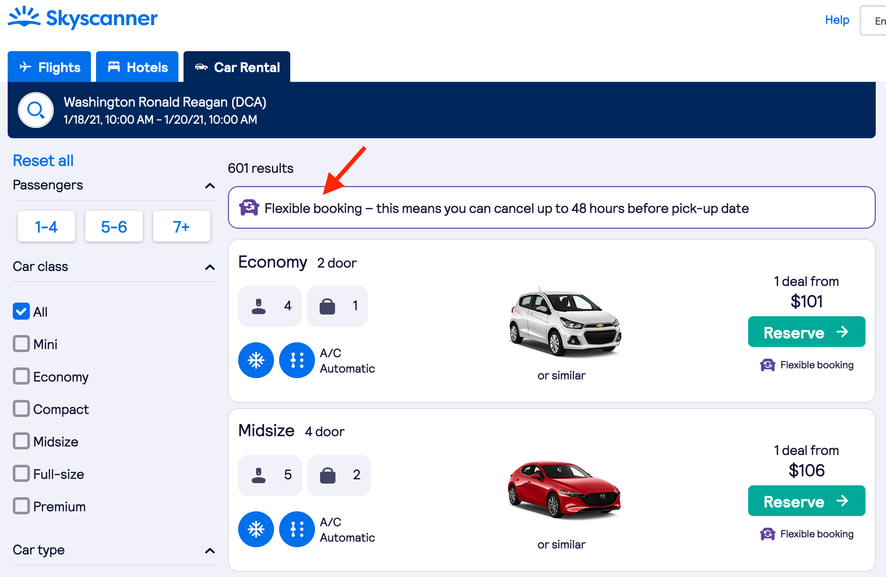 Keep an eye out for Skyscanner's car rental flexible booking icon.