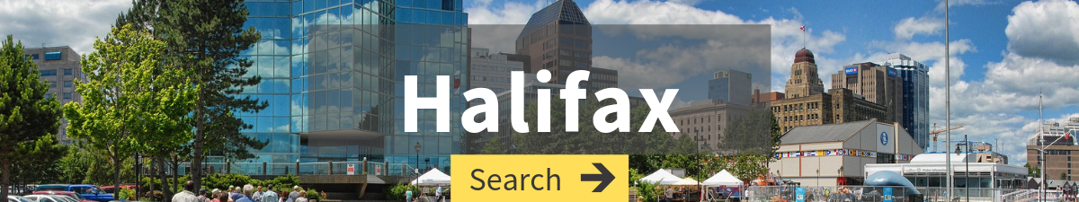 cheap flight search to Halifax with Halifax cityscape in the background