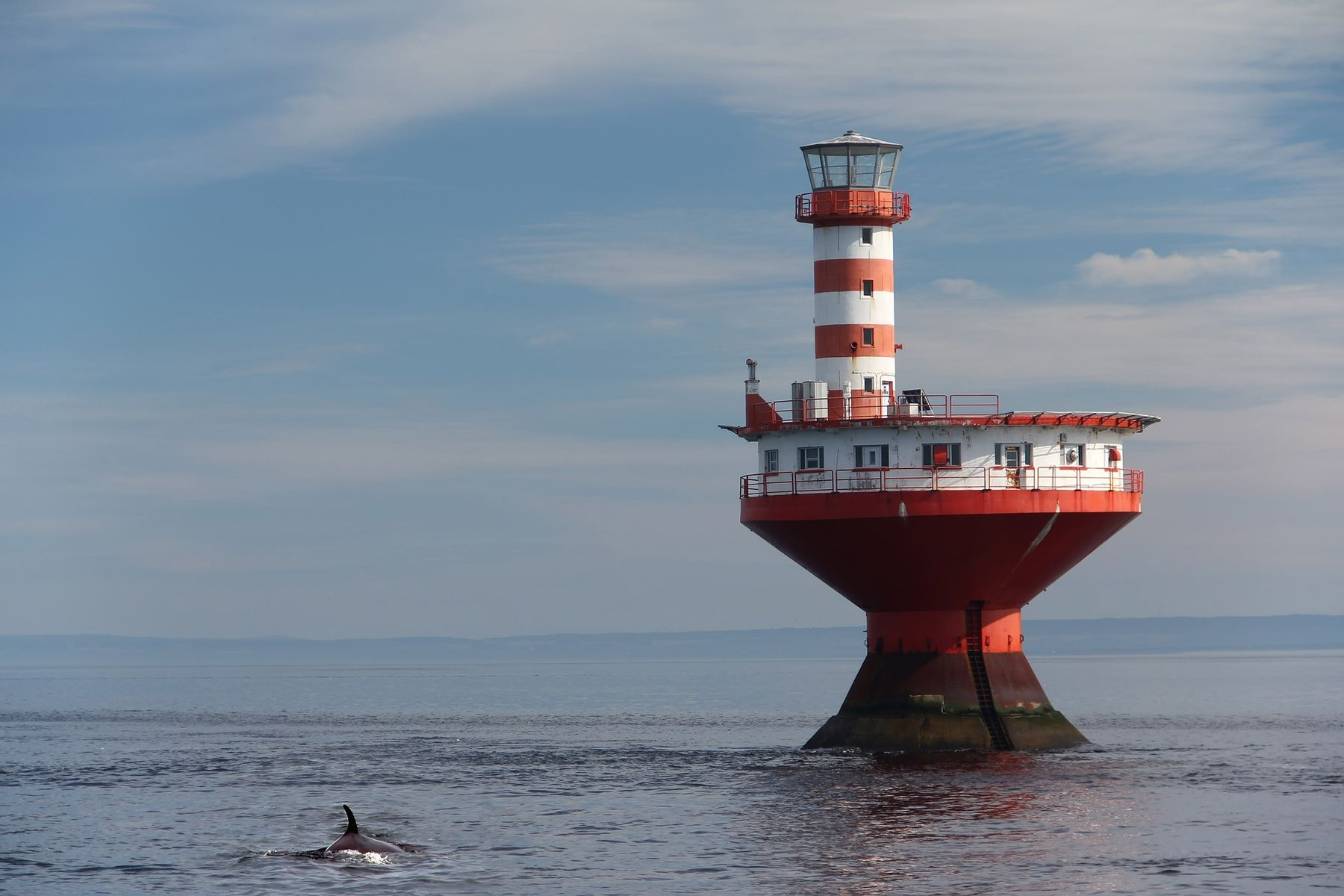Whale and a lighthouse in Tadoussac, a great spot for an october getaways in Quebec