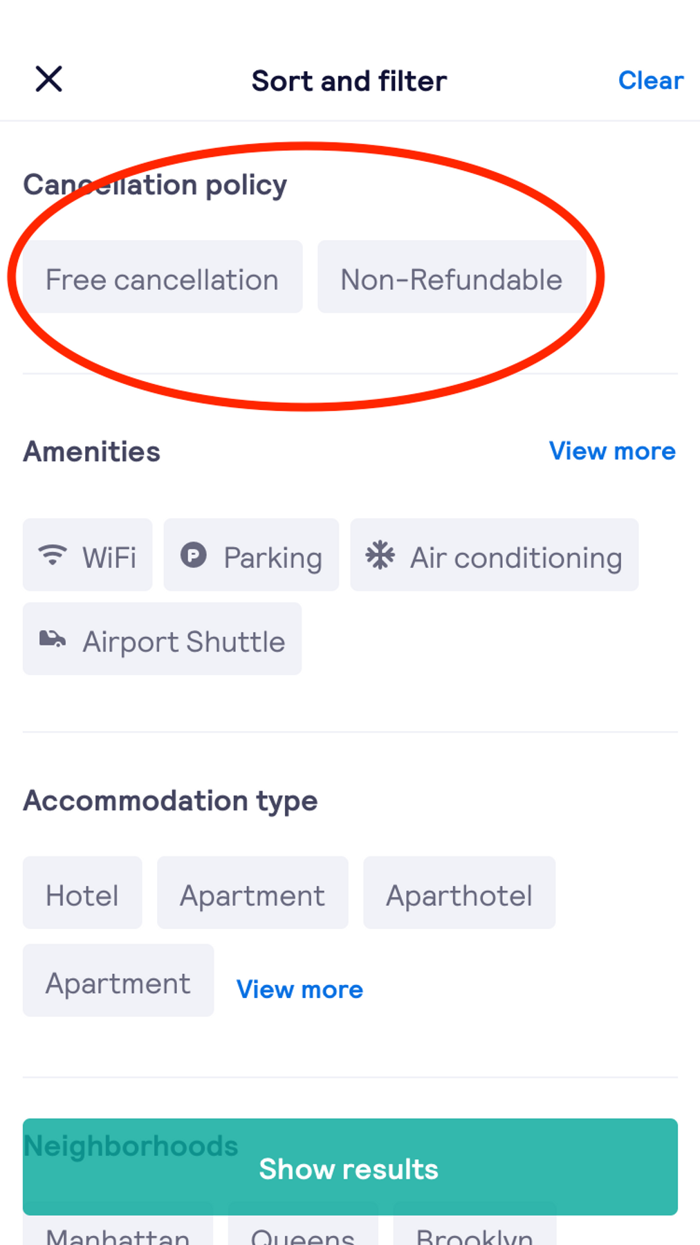 Filter for non-refundable bookings for competitive last-minute hotel deals