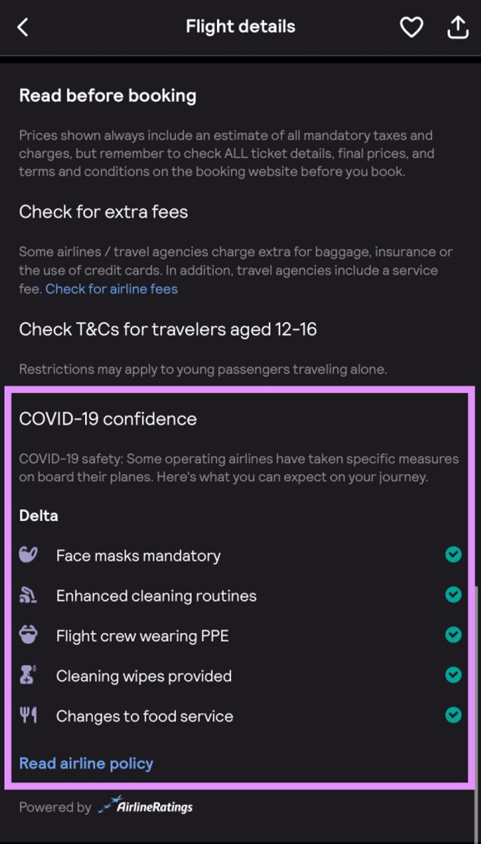 You can book your flights with Delta cyber monday deals in confidence thanks to COVID-19 information provided by Skyscanner