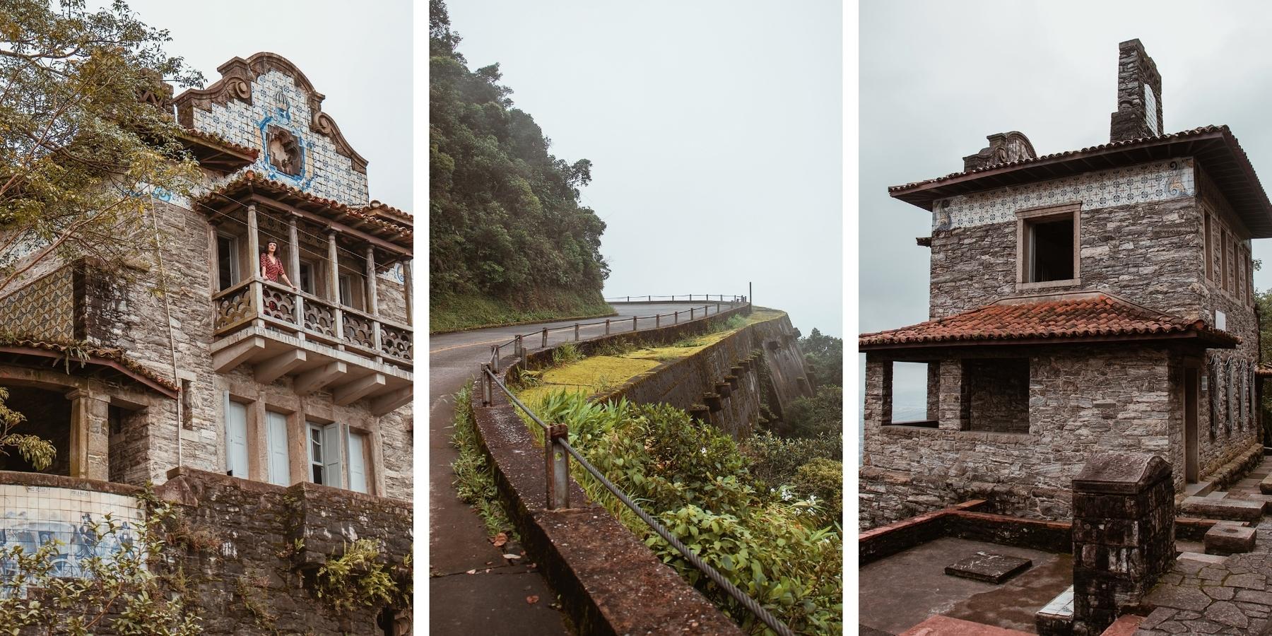 Três imagens da trilha dos Monumentos Históricos no litoral paulista.