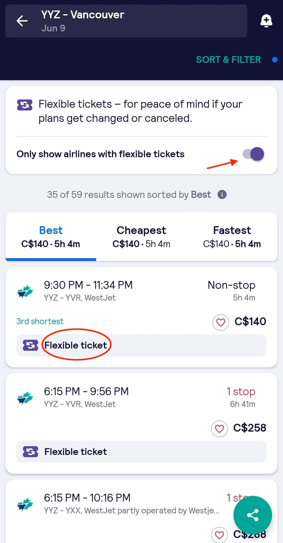 skyscanner app screenshot and a list of flights from Toronto to Vancouver with the flexible tickets option enabled