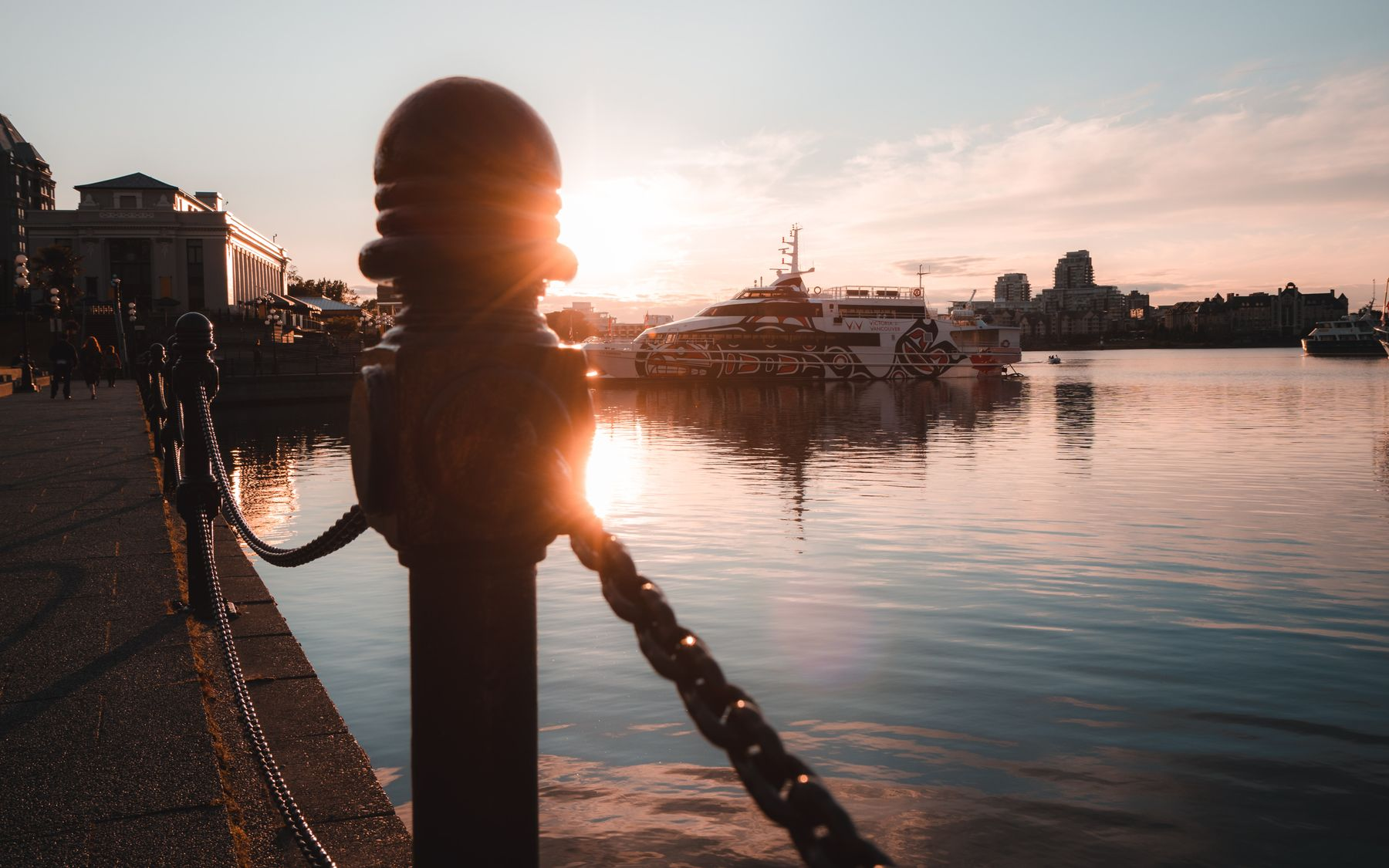 Inner harbour Victoria at sunset