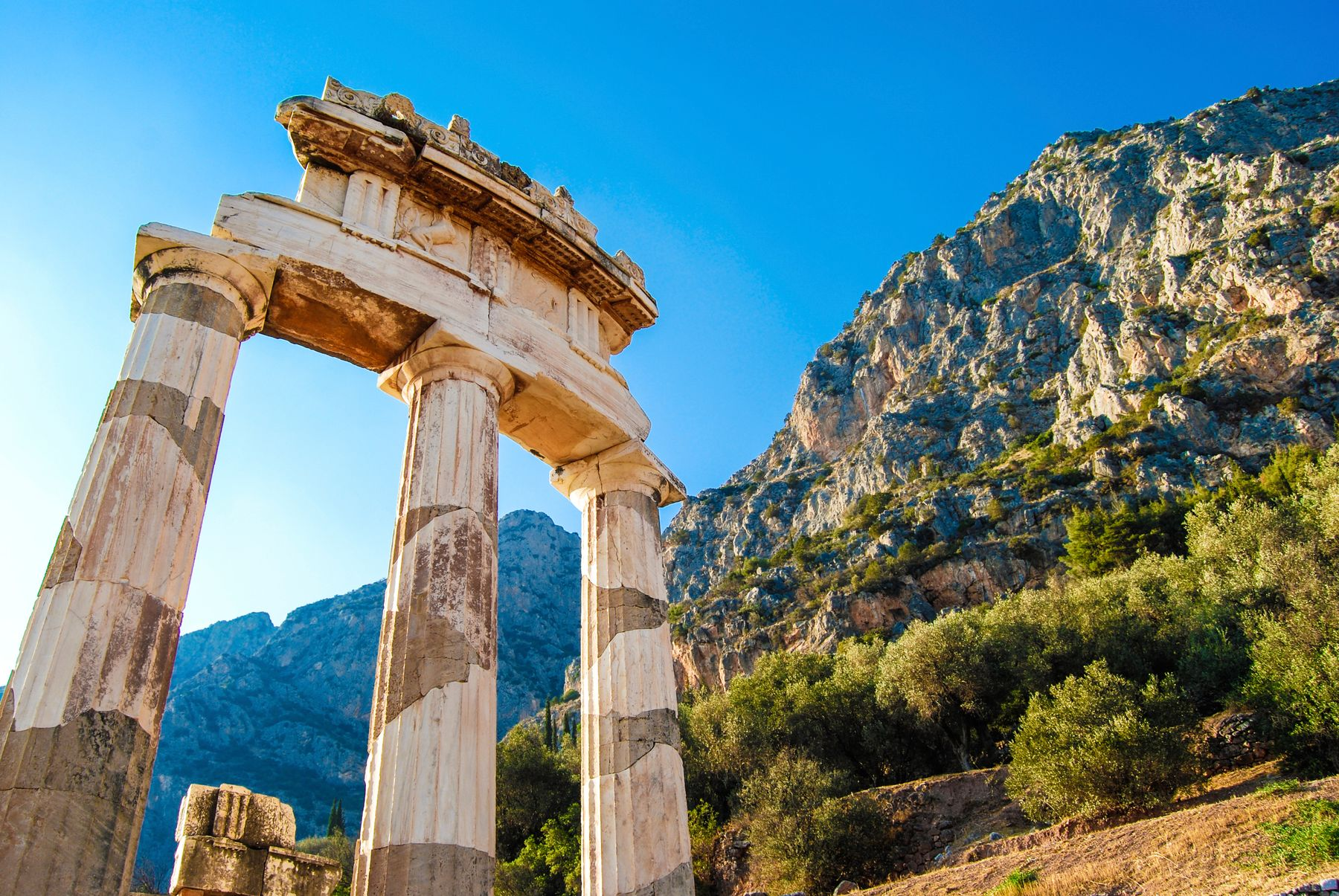 Delphi, a town on Mount Parnassus in the south of mainland Greece