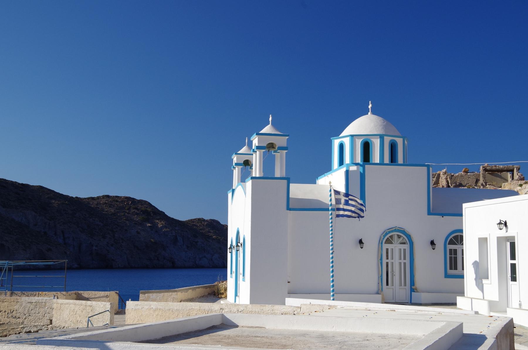House by the sea on the island of Milos, Greece