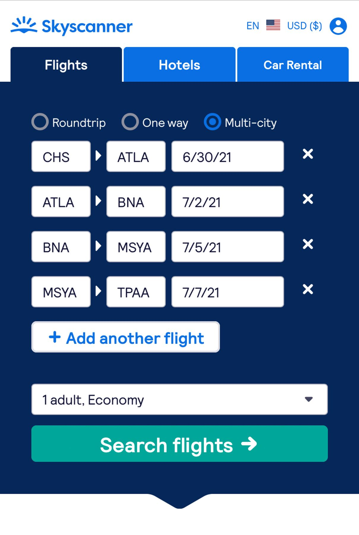 Screenshot of starting a multi-city flight search in Skyscanner