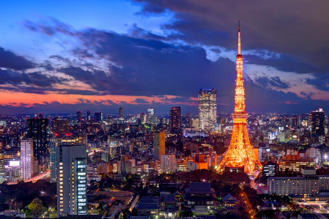 The Tokyo Tower illuminated at night