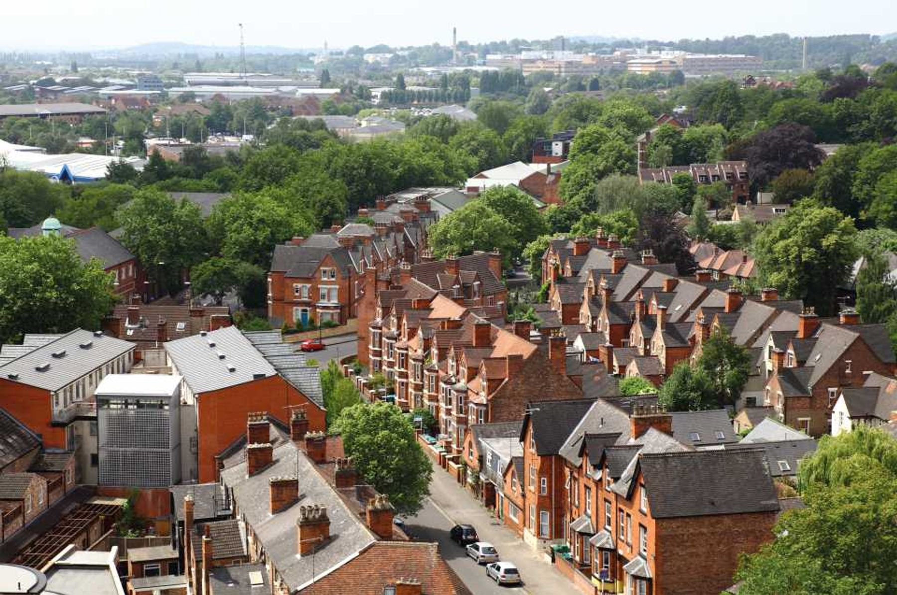 Aerial view of residential street in Nottingham, England