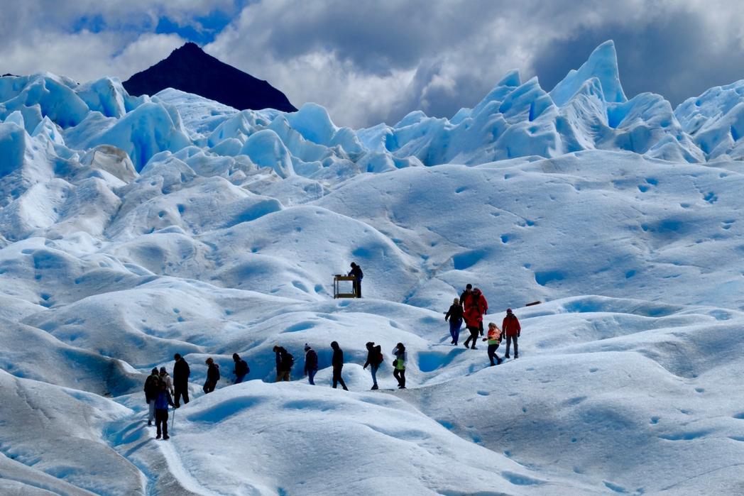 group of trekkers in the Perito Moreno Glacier in Argentina
