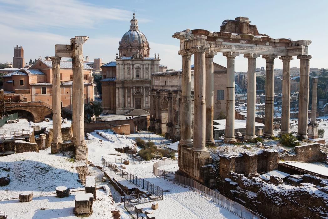 Χιόνι στον Παλατίνο Λόφο της Ρώμης - οι καλύτεροι προορισμοί της Ιταλίας ανά εποχή