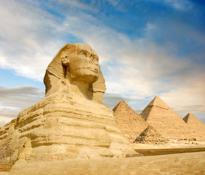 The famous trio and the Sphinx at Giza