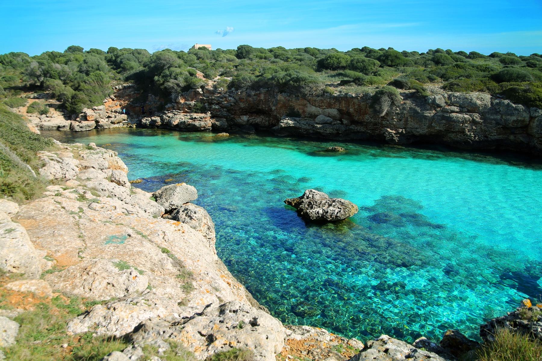 Majorca, Cala Petita, a hidden little bay with turquoise water