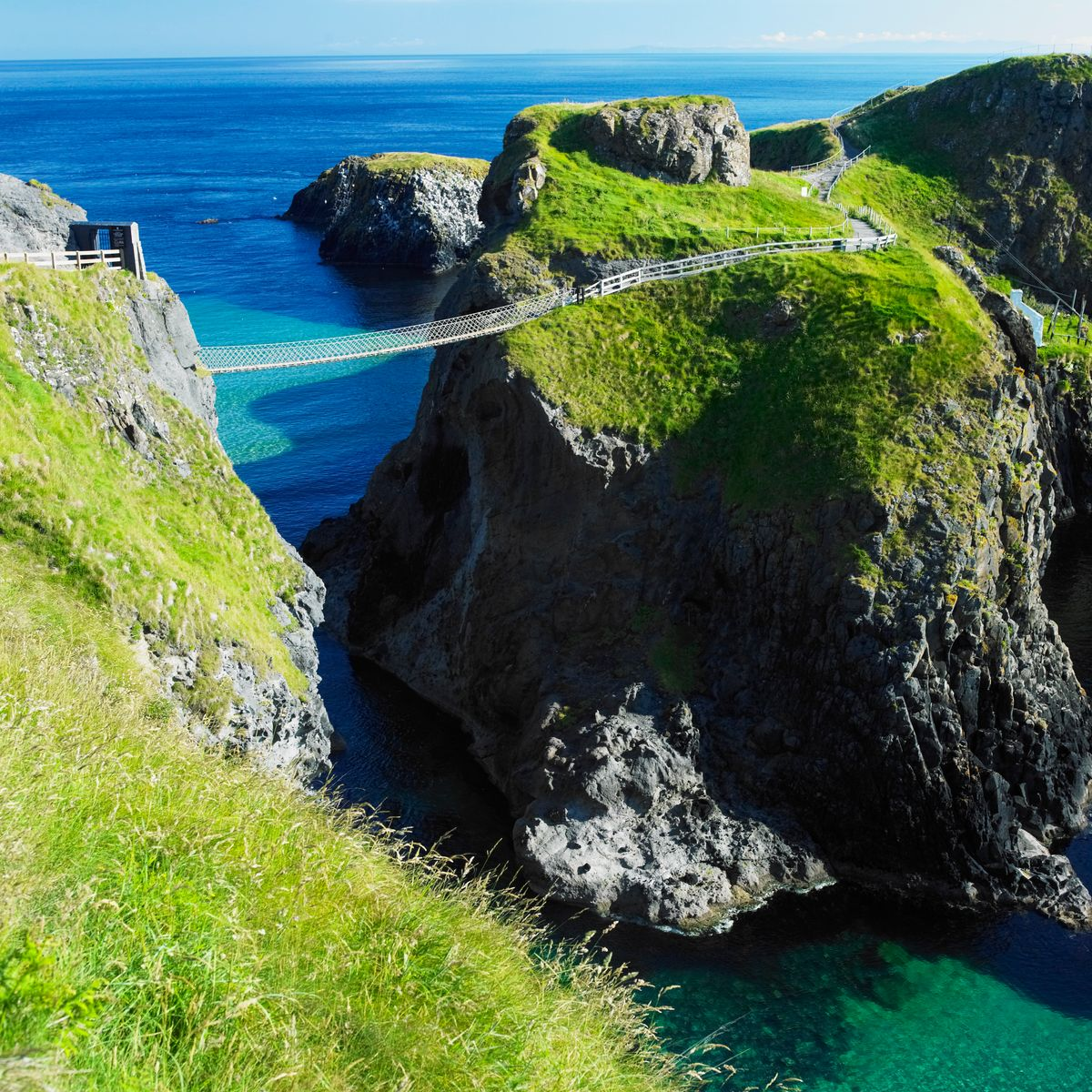 The 20m-long Carrick-a-rede Rope Bridge in Northern Ireland