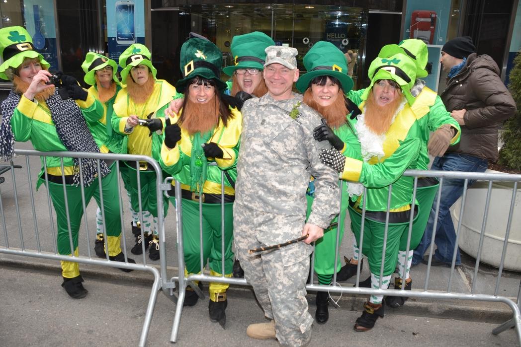 People celebrating St Patrick's Day in New York