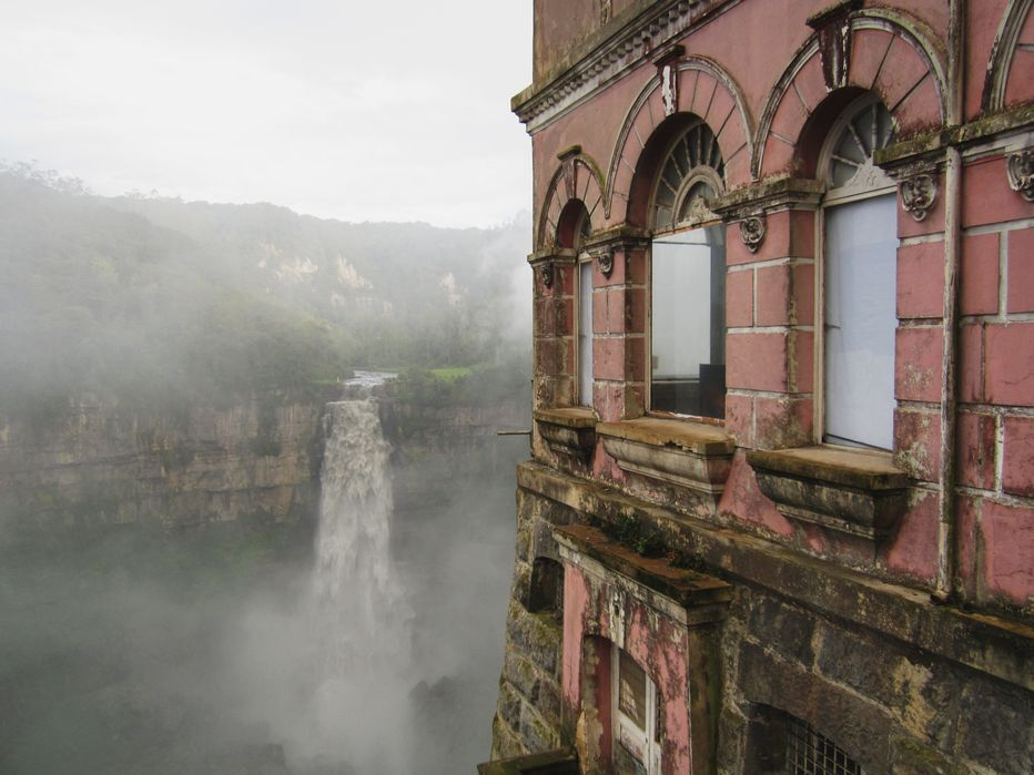 The eerie windows of the Salta hotel overlooking the Tequendama falls.