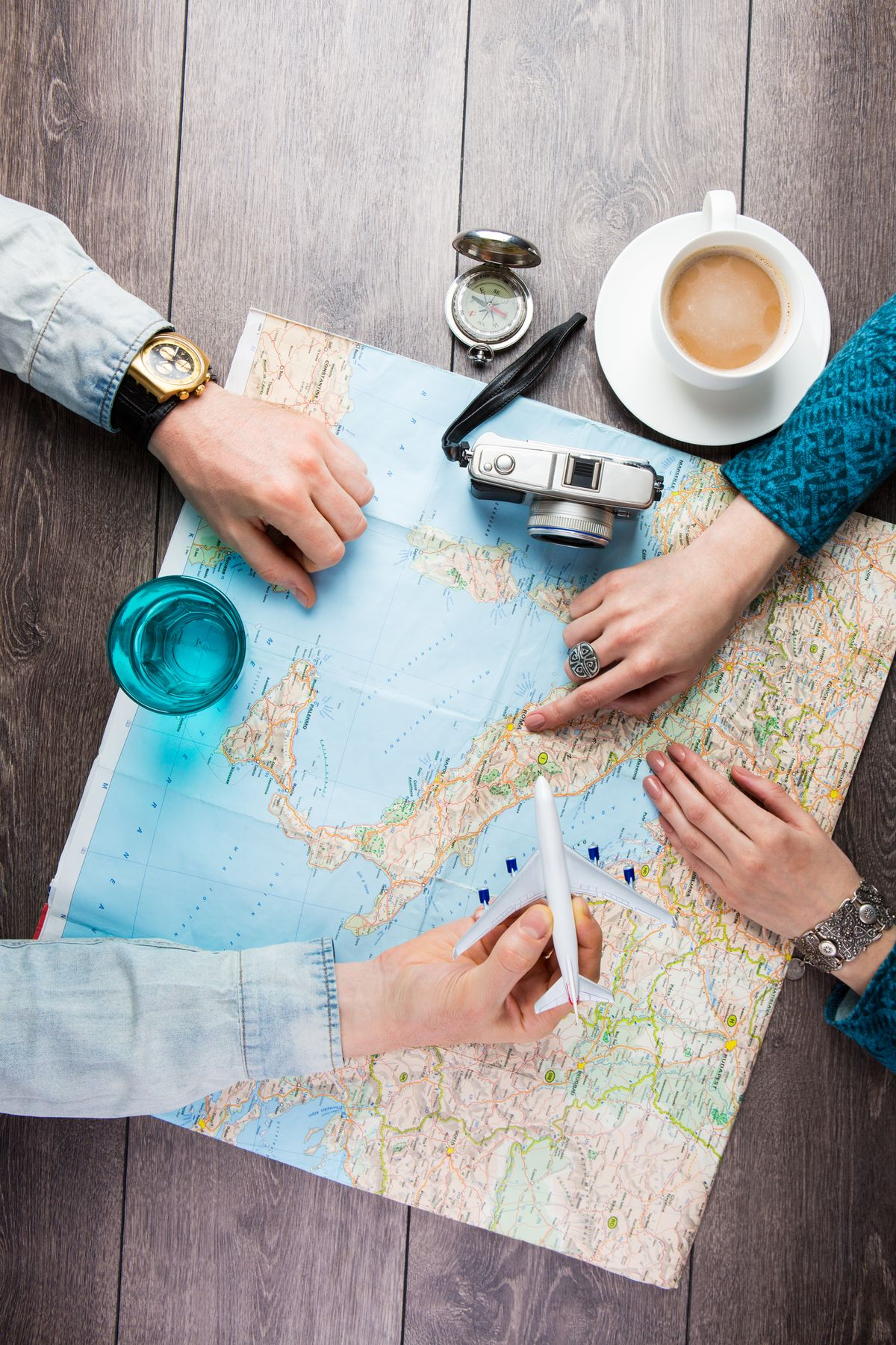 Planning a trip with a map and accessories