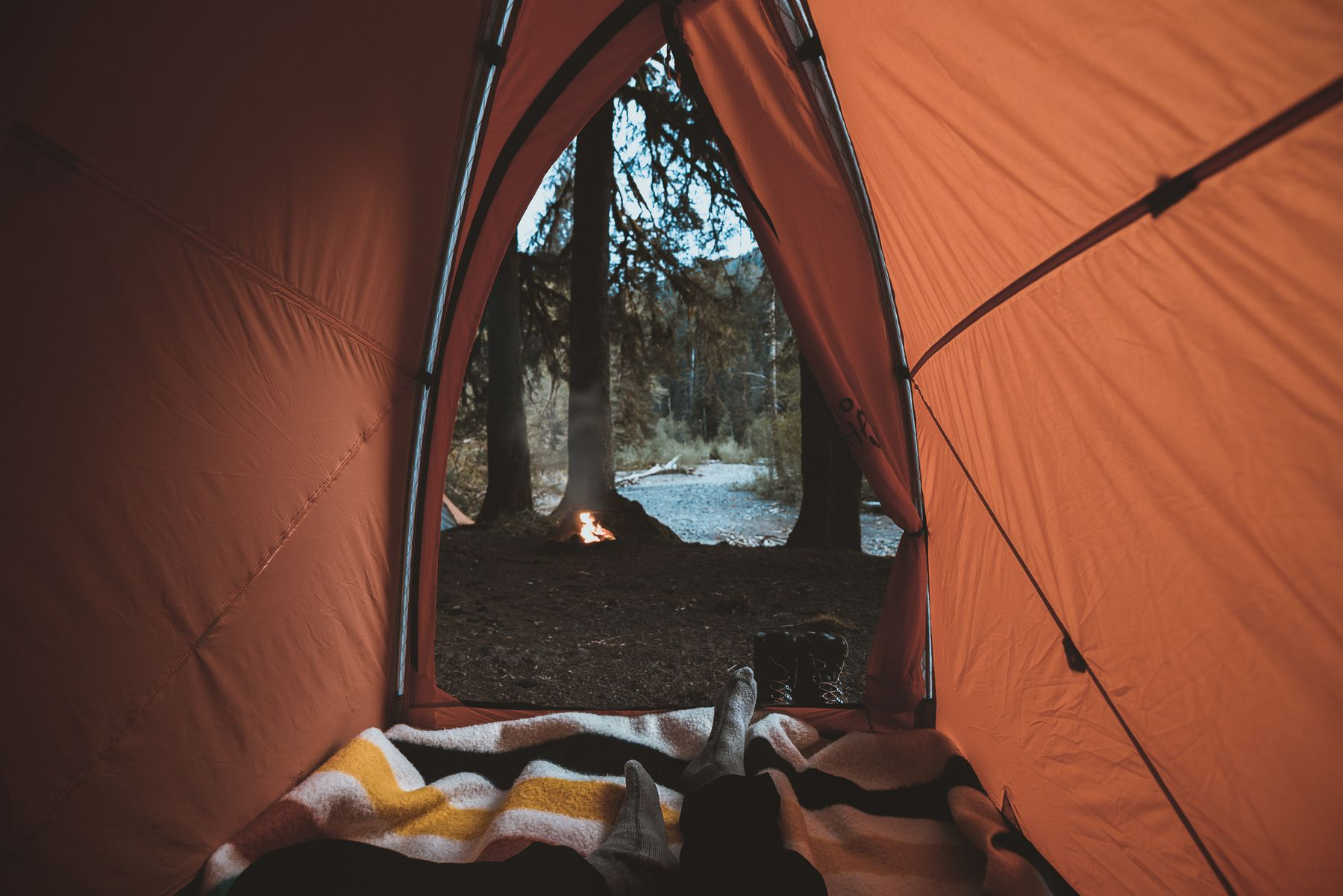 view from inside a camping tent to a lake