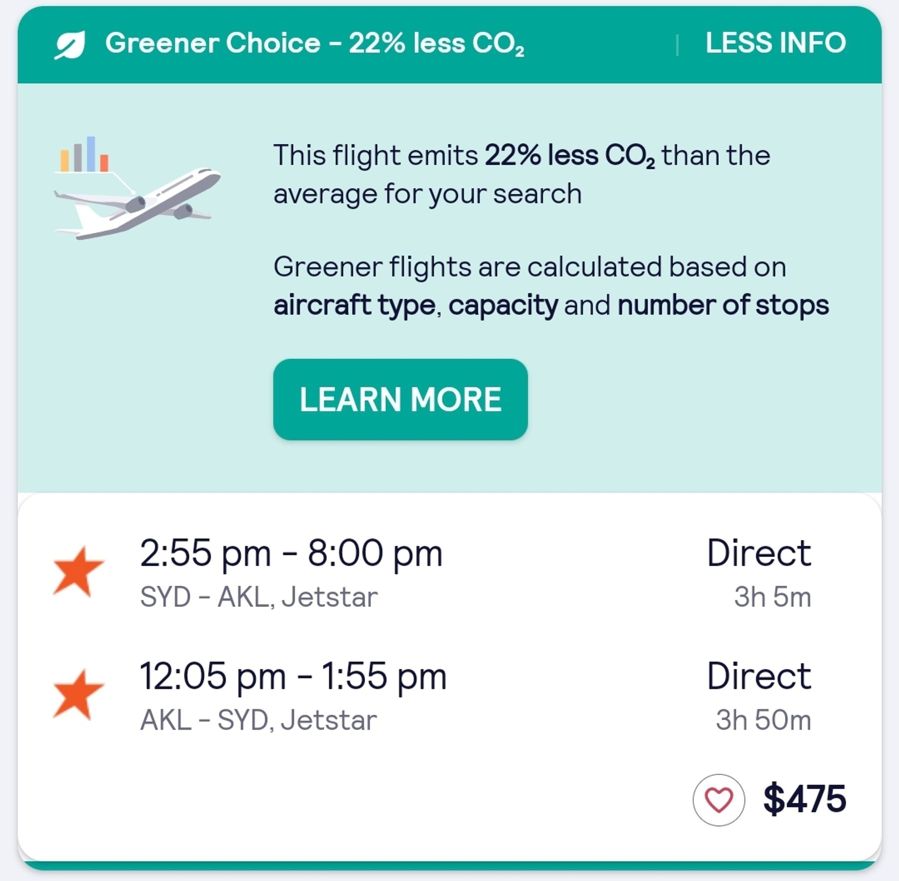 Greener Choice label shows you which flights omit less CO2.