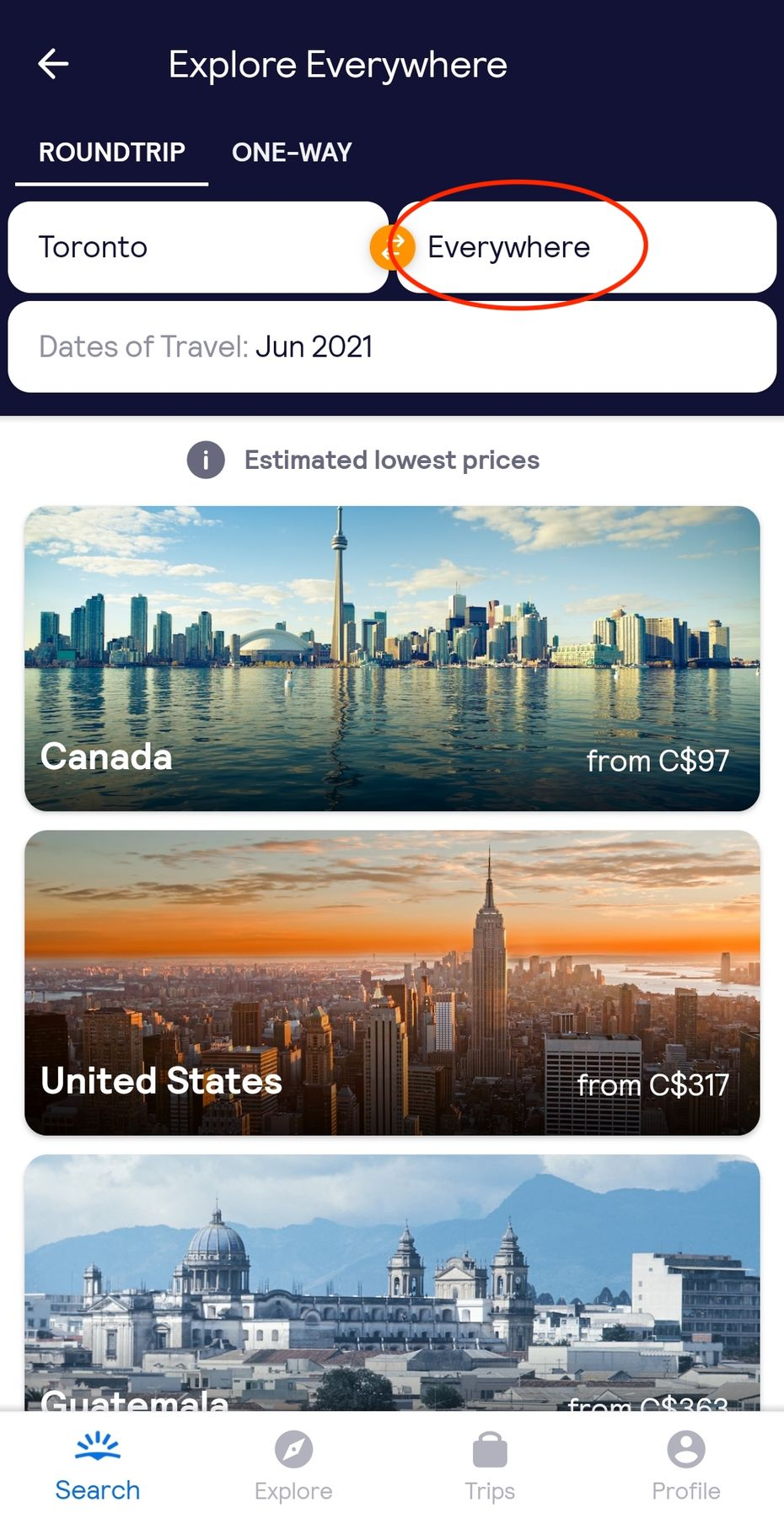 Everywhere flight search from Toronto to Everywhere, screenshot of the Skyscanner travel app