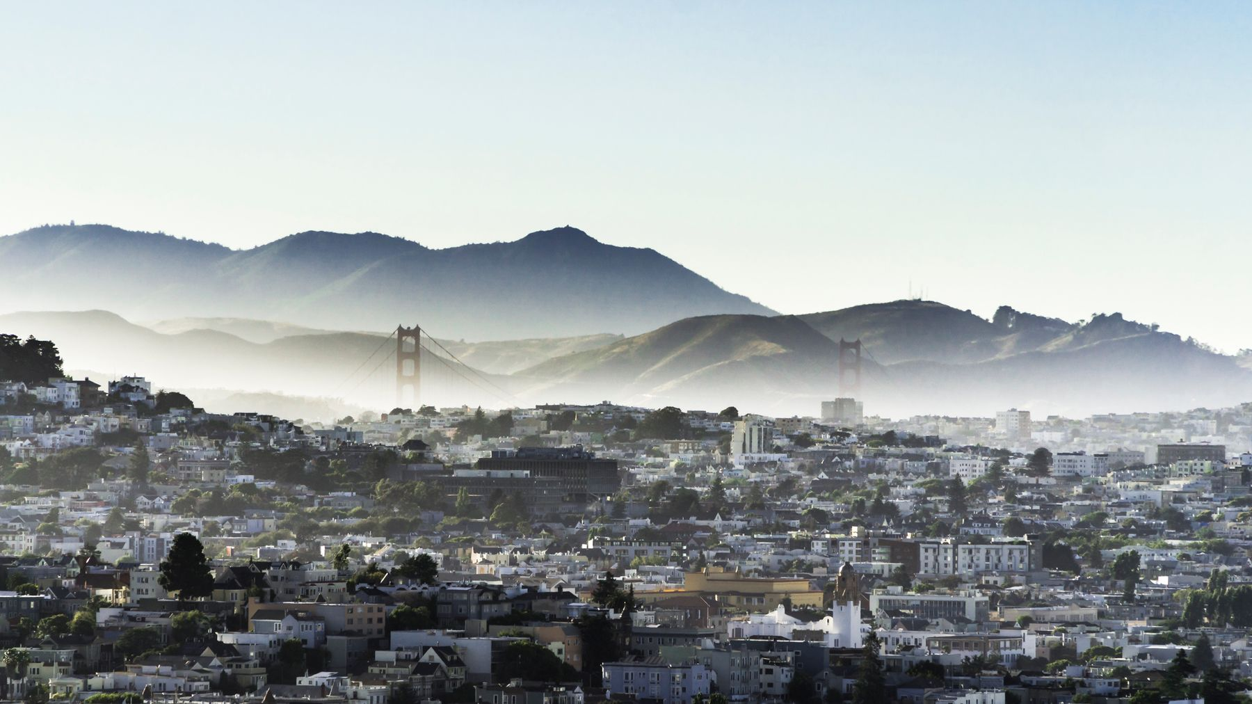 Panoramic view of San Francisco during pandemic