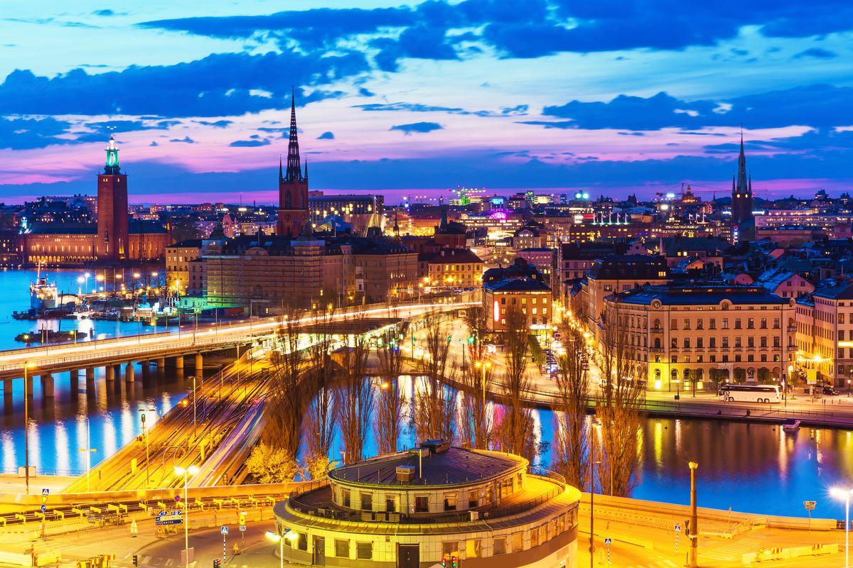 Стокгольм на закате, вид сверху