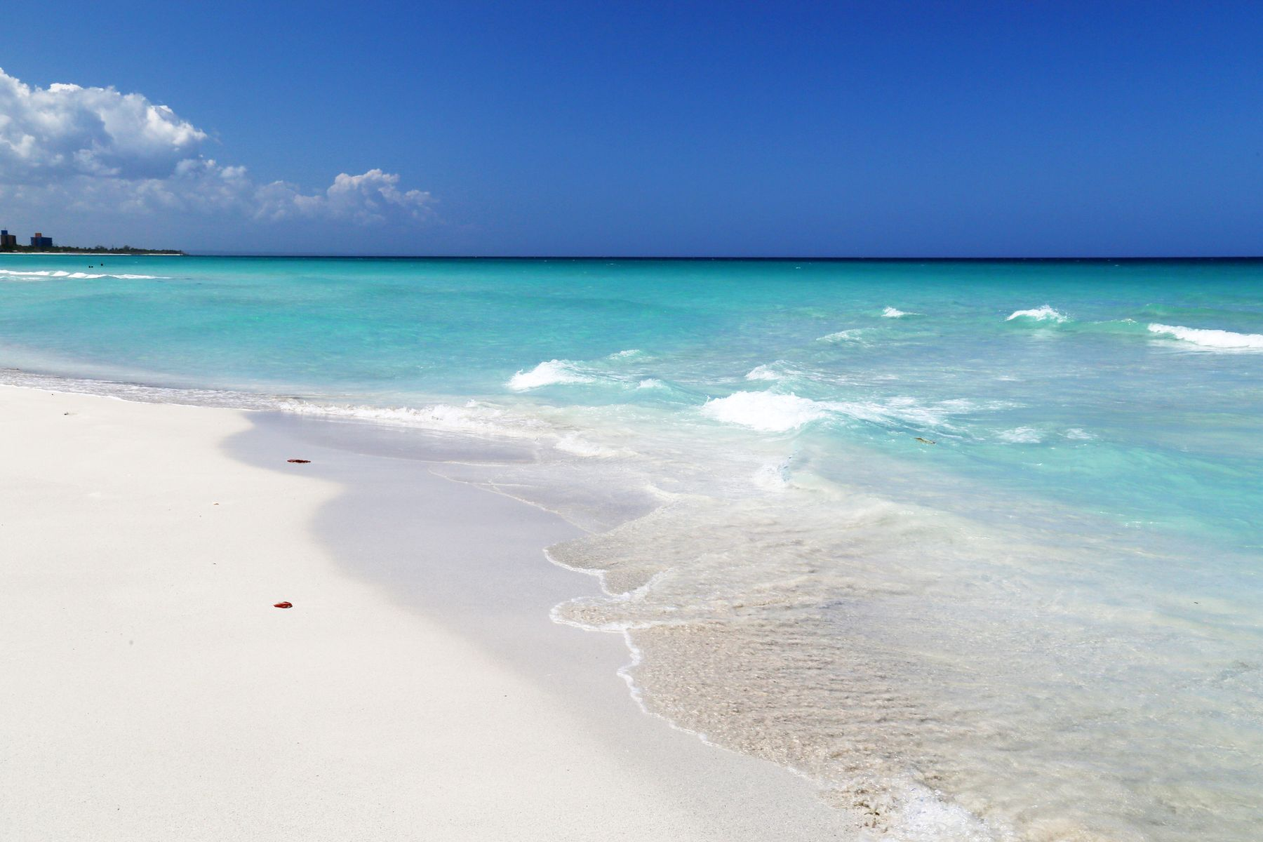 The endless beach in Varadero, Cuba, is hot in January
