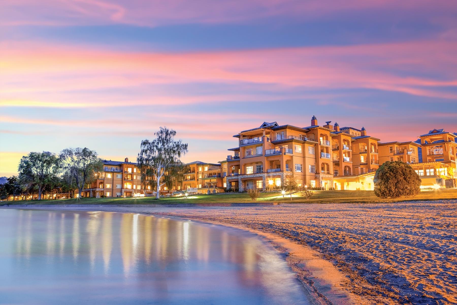 Sunset at Watermark Hotel, a popular BC beach resort
