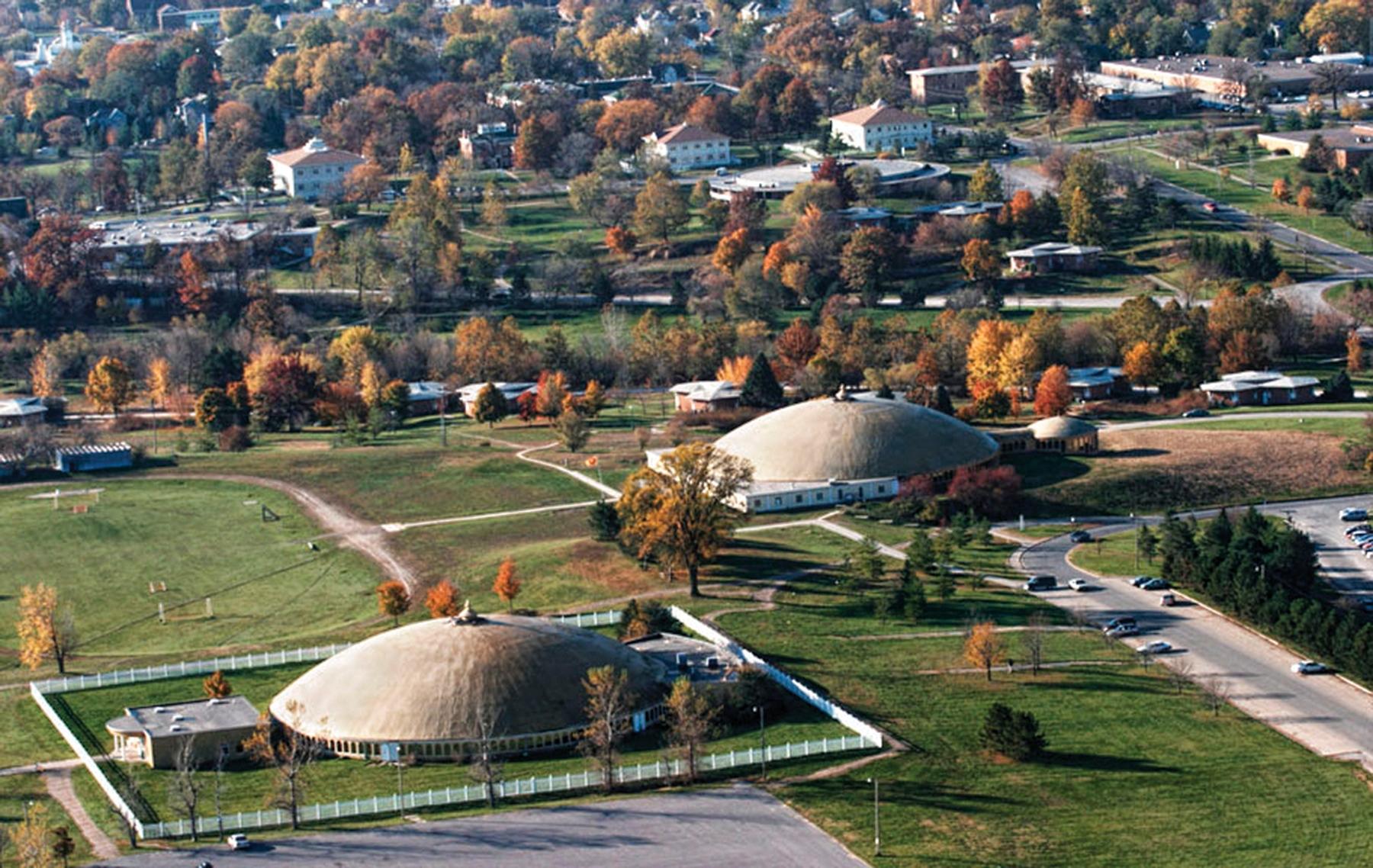 Aerial view of Maharishi International University's two domes.